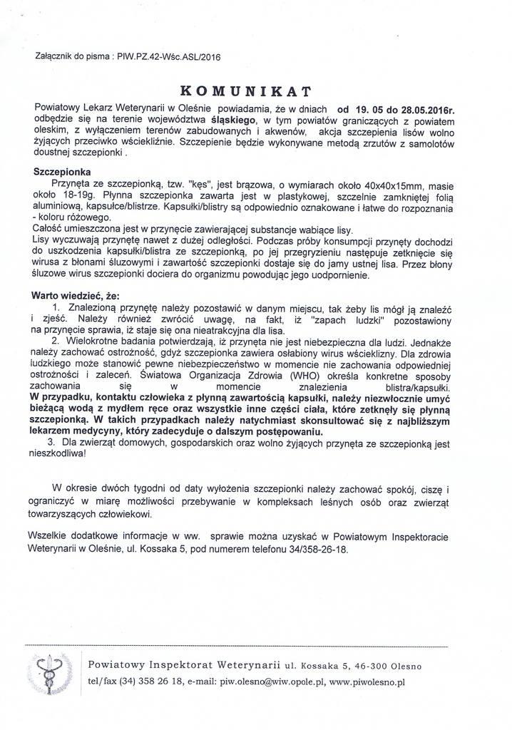 Komunikat Powiatowego Lekarza Weterynarii w Oleśnie.jpeg