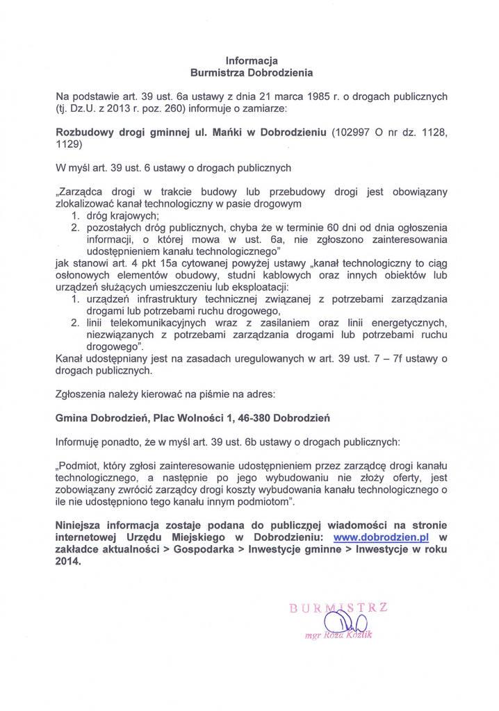 Rozbudowa drogi gminnej ul. Mańki w Dobrodzieniu.jpeg